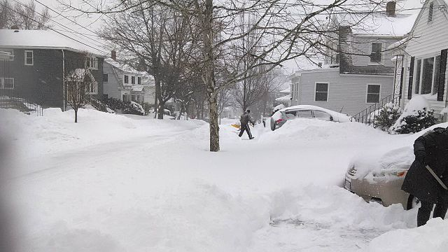 """January 2015 nor'easter snowfall in Watertown, MA"" by Aria1561 - Own work. Licensed under CC BY-SA 3.0 via Wikimedia Commons -"