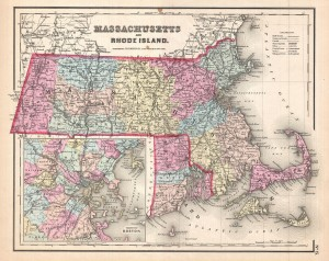 This is the uncommon 1857 issue of J. H. Colton's map of Massachusetts and Rhode Island.
