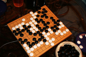 A finished game of Go on a 13 X 13 board for beginners.  Photo by Chad Miller from Orlando, Florida, US of A