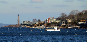 Marblehead Neck viewed from the causeway to the mainland, in Marblehead, Massachusetts. The lighthouse is Marblehead Light, a cast-iron skeletal structure, completed in 1895. Photo credit: Mr.TinDC